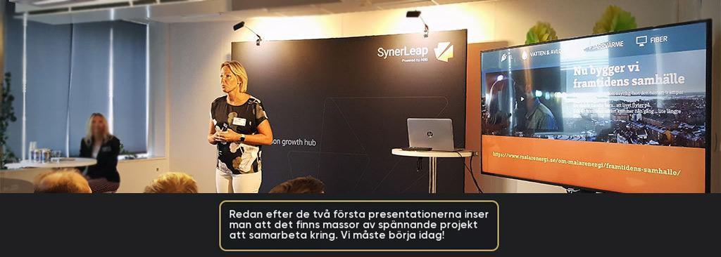 Mälarenergi, Västerås stad, ABB, Region Västmanland samt startupföretag från SynerLeap. Fokus för eventet var att knyta kontakter och tillsammans hitta de bästa lösningarna för regionens framtid. Mälarenergi är ett infraserviceföretag som skapar innovationer för framtiden.