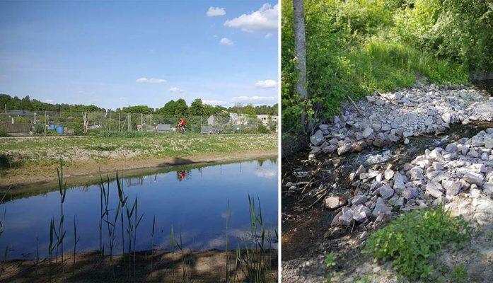 Mälarenergi har anlagt dagvattendammar och Västerås stad har iordningställt strövområdet vid Hamre våtmark.