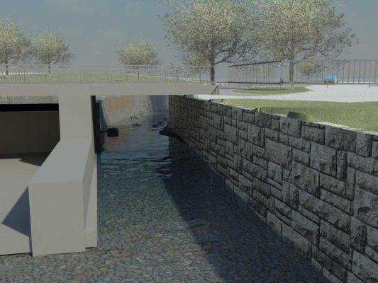 Skissen visar inloppet till fiskvägen sett från Mälaren med Turbinhuset till vänster.