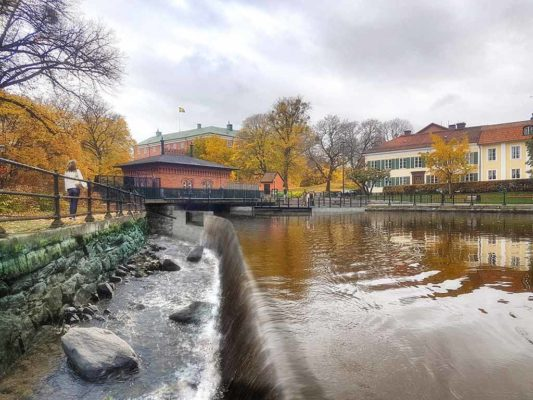 Faunapassage vid Mälarenergis vattenkraftstation Turbinbron i centrala Västerås. Här producerar Mälarenergi el.